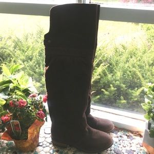 Qupid Brown Western Style Over The Knee Boots, 6.5
